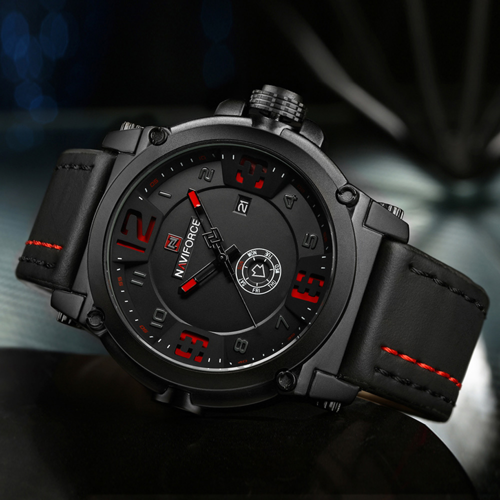 NAVIFORCE Luxury Brand Military Watches Men Quartz Analog 3D Dial Leather Clock Man Sports Watches Army Watch Relogio Masculino
