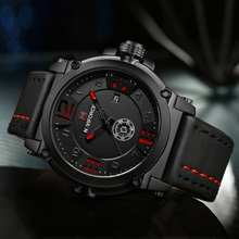 Naviforce Luxe Merk Militaire Horloges Mannen Quartz Analoge 3D Dial Lederen Klok Man Sport Horloges Leger Horloge Relogio Masculino