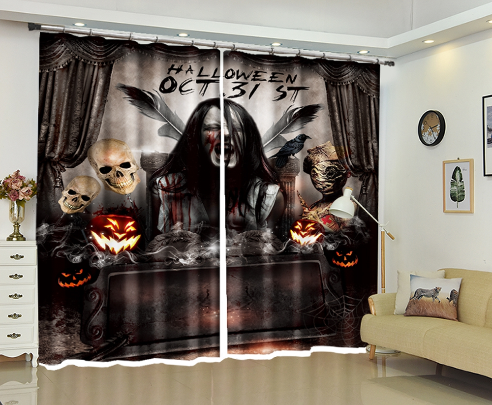 Halloween Decorative Wall Luxury 3D Curtains For Living room Bedroom Curtains Hotel Office Drapes Cortinas Dormitorio Rideaux Halloween Decorative Wall Luxury 3D Curtains For Living room Bedroom Curtains Hotel Office Drapes Cortinas Dormitorio Rideaux