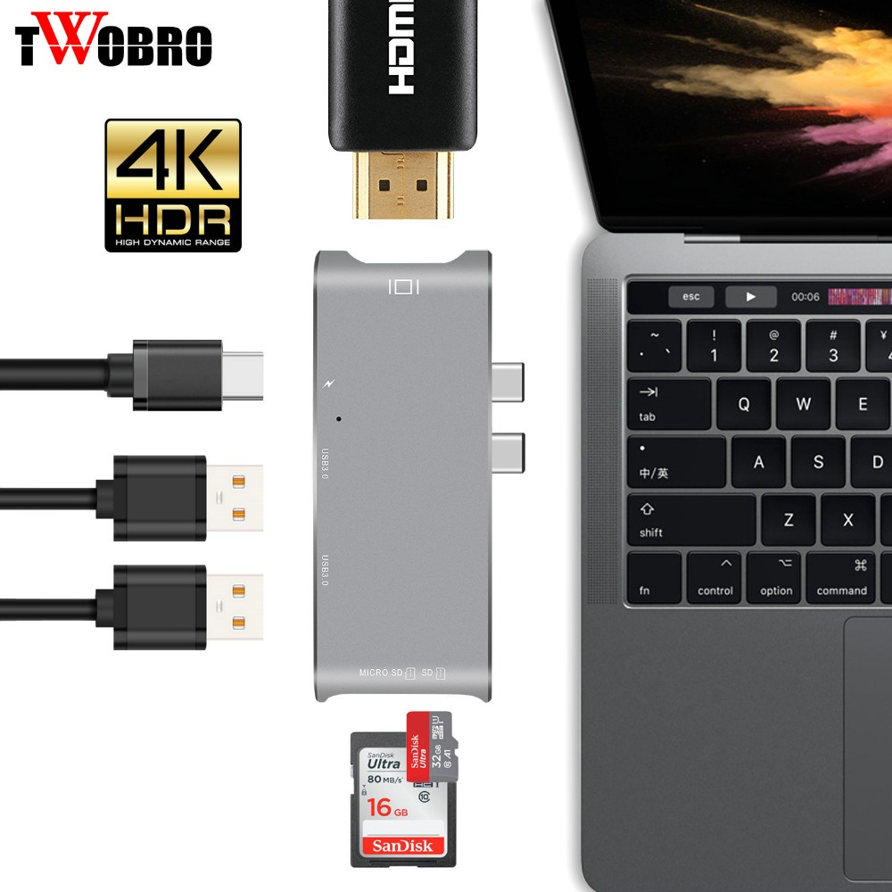 New 2018 USB Type-C HUB to HDMI 4K Adapter for MacBook Pro, USB-C Adapter to 2 USB 3.0 ports, With 1 Type C Charging Port потребительские товары brand new 1 usb 2
