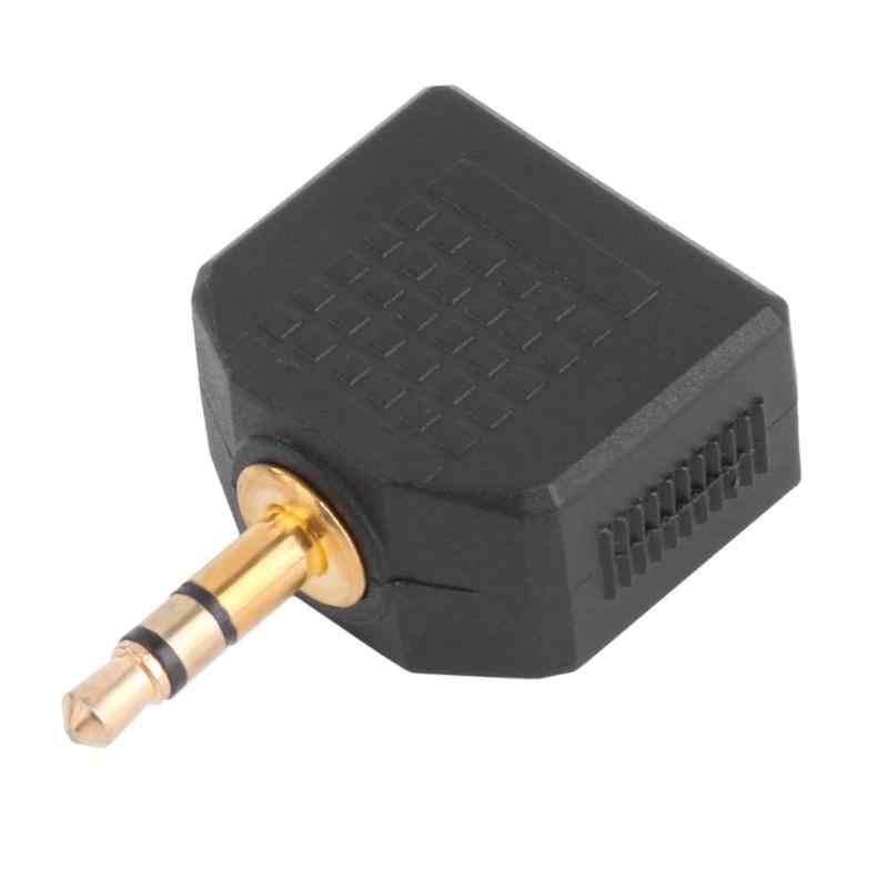 ALLOYSEED 2 uds oro plateado 3,5mm macho estéreo a doble 3,5mm hembra Jack Y Splitter Audio Adaptador convertidor Cable conector