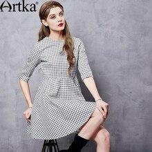 Artka Women's Autumn New Houndstooth Printed Comfy Dress Vintage O-Neck Three Quarter Sleeve Empire Waist A-Line Dress LA10862Q
