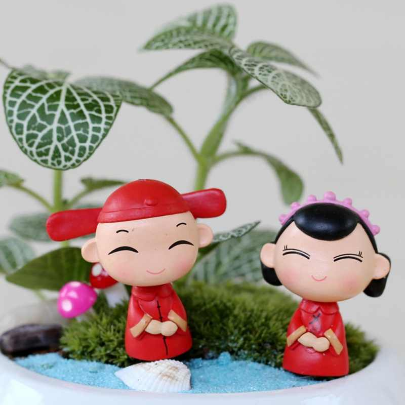 Cuta Couple Chair Figurines Miniatures Fairy Garden Gnome Moss Terrariums Resin Crafts Home Decoration Accessories