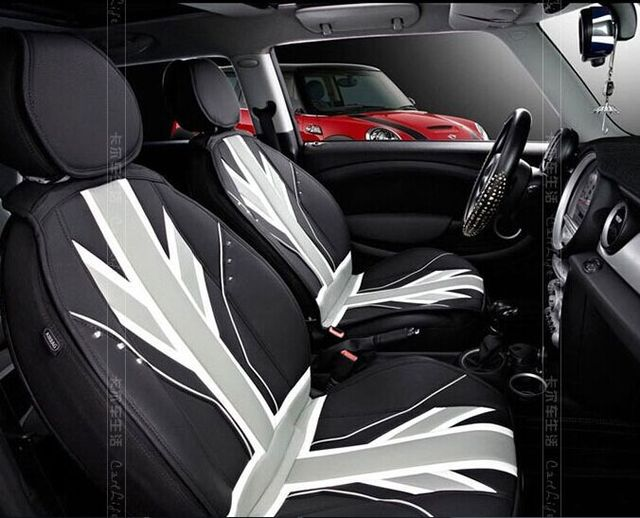 Black Union Jack Leather Four Seasons Leather Car Seat Covers For