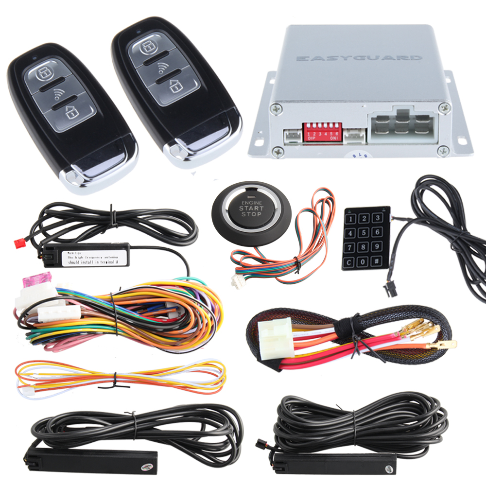 In Stock! High quality car alarm PKE system with remote start and push start button auto lock unlock & automatic owner identify easyguard pke car alarm system remote engine start stop shock sensor push button start stop window rise up automatically