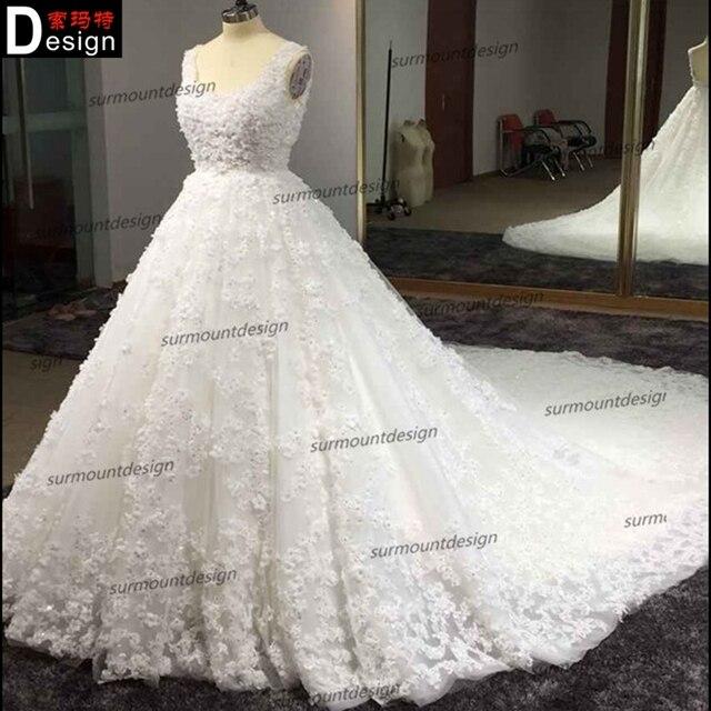 Fashion exquisite car flower train wedding dress slim waist aesthetic royal train off white wedding dress quality 2015