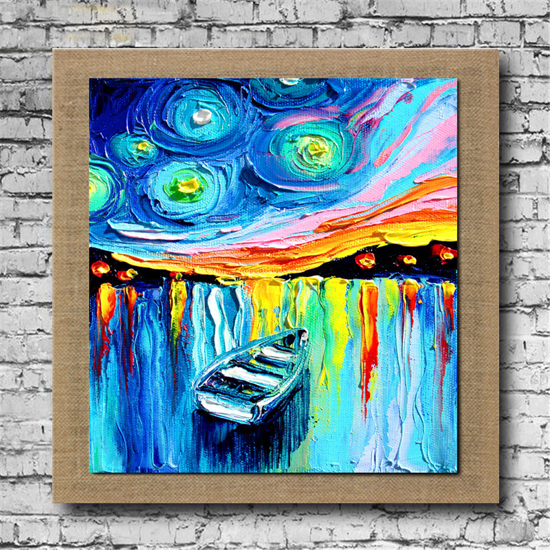 100%Hand Painted Abstract Boat Oil Painting On Linen With Frame Modern Home Decor For Living Room Wall Picture