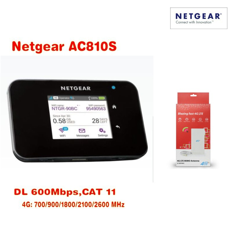 New Arrival Original Unlocked Netgear 600Mbps Aircard AC810S 4G LTE Cat11 Mobile Hotspot Plus 49db antenna netgear verizon jetpack 4g lte mobile hotspot ac791l plus antenna