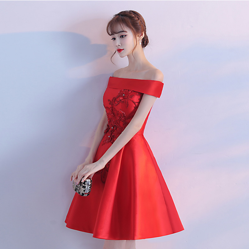 cf372086c00 Automne Robes De D été Floral Élégant L épaule Mini Parti Femmes Vêtements  Mariée D honneur Douce Demoiselle Rouge Robe ...