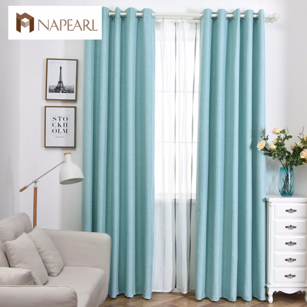 Blue And Beige Living Room: 100% Blackout Curtain Modern Solid Color Window Treatment