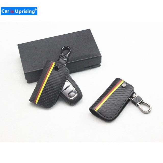 Pele de fibra de carbono chave Do Carro saco caso capa Apto para AUDI A4 A5 A6 B6 B7 B8 A7 A8 Q5 q7 R8 TT S5 S6 S7 S8 Q5 carro cobre estilo do carro