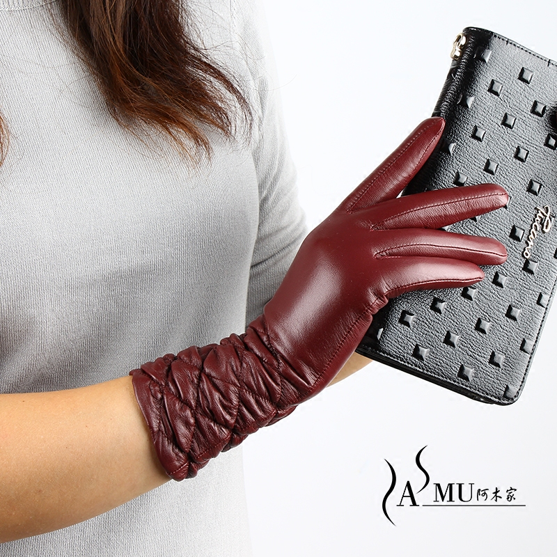 Fashion Women Winter Warm Driving Sheepskin Ladies Leather Gloves Plus Velvet Warm Mittens Autumn Long Gloves Free Shipping
