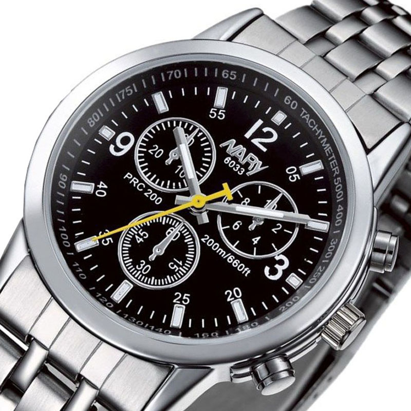 NARY Brand Fashion Men Watch Stainless Steel Band Calendar Women Watch Casual Business Quartz Wristwatch Clock