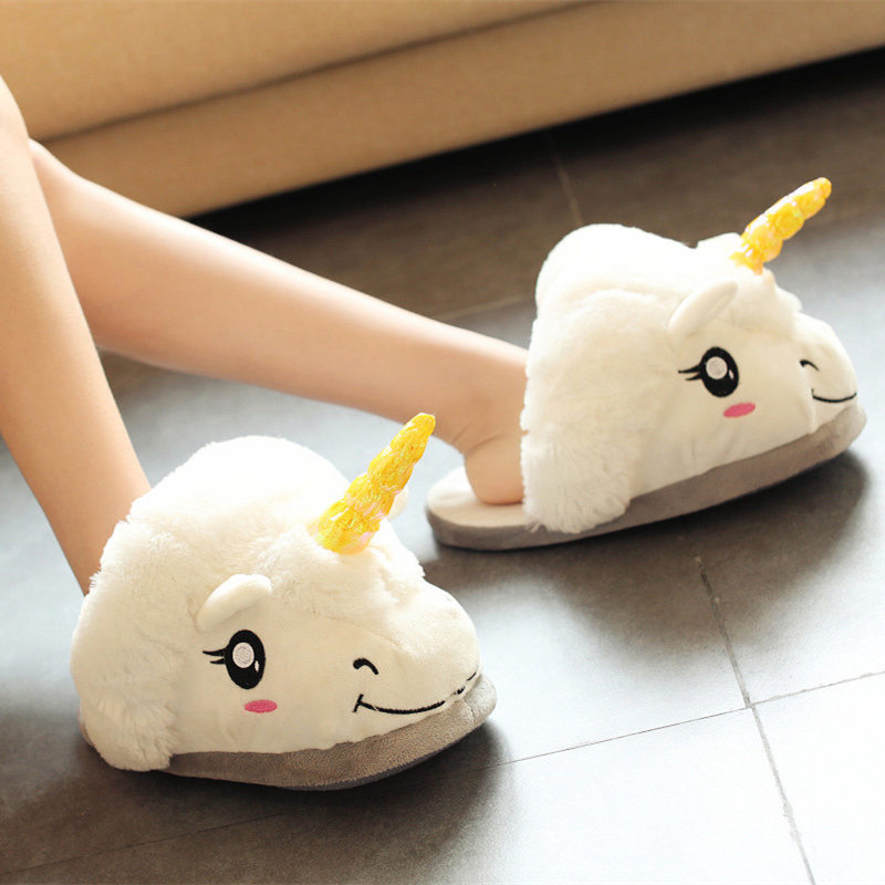 New Winter Indoor Slippers Plush Home Shoes Unicorn Slippers for Grown Ups Unisex Warm Home Slippers Shoes men winter soft slippers plush male home shoes indoor man warm slippers shoes