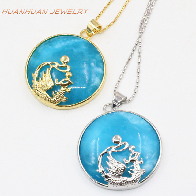 Charms Stone Pendant Necklace Circle Round Blue Natural Stones Jades 32mm  Stainless Steel Chain Pendants Dragon Inlay B3327 892fd999685