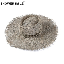 SHOWERSMILE Women Summer Hat 2019 Wide Brim Ladies Straw Hats Hollow French Designer Brand Breathable Sun Protection Female Cap