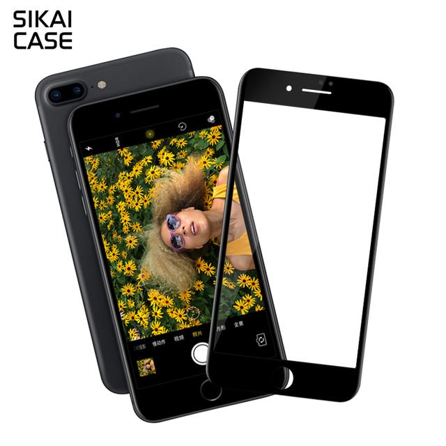 Sikai nuevo anti-huella digital protector de pantalla premium hd película de pantalla protector de vidrio templado de balística guarder para iphone7 7 plus