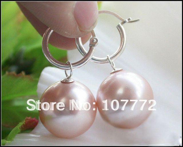 20 MM de color rosa ronda SHELL perla + shippment