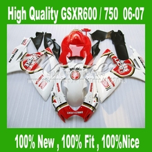 LUCKY STRIKE Fairings for SUZUKI GSXR 600 06 07 red white GSXR 750 06 07 GSX