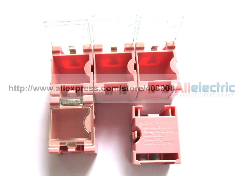 100 Pink SMD SMT Electronic Component Mini Storage Box 12 pcs smd smt electronic component storage box yellow
