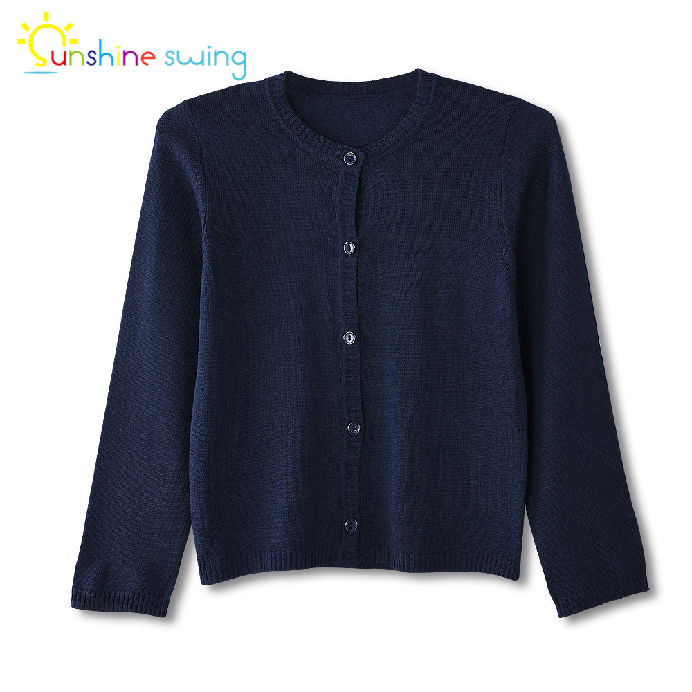 Sunshine Swing Fashion Children Toddler Girl Clothes Cardigan Sweater Single Breasted Navy Blue Knit Spring Autumn Sweater 4-16T new pair left