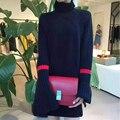 Женщины Водолазка Ярусного Kniting Топы С Длинным Рукавом Подол Сплит Пуловеры Марка Дизайн Вязать Платья