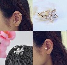 Nice Single Clover Crystal Flower Gold Silver Ear Cuff Stud Earring Wrap Clip Earrings Free shipping