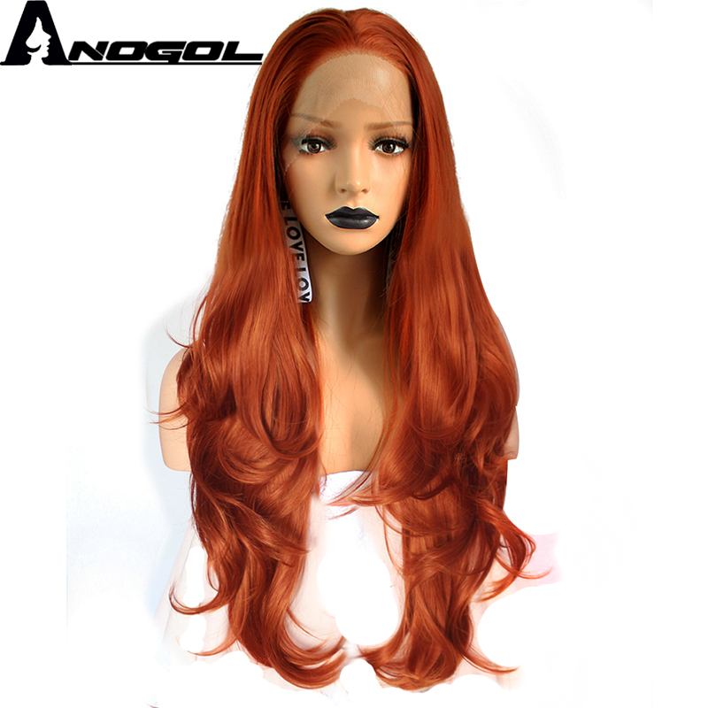 Anogol High Temperature Fiber Full Hair Wigs Long Natural Wave Orange Copper Red Synthetic Lace Front