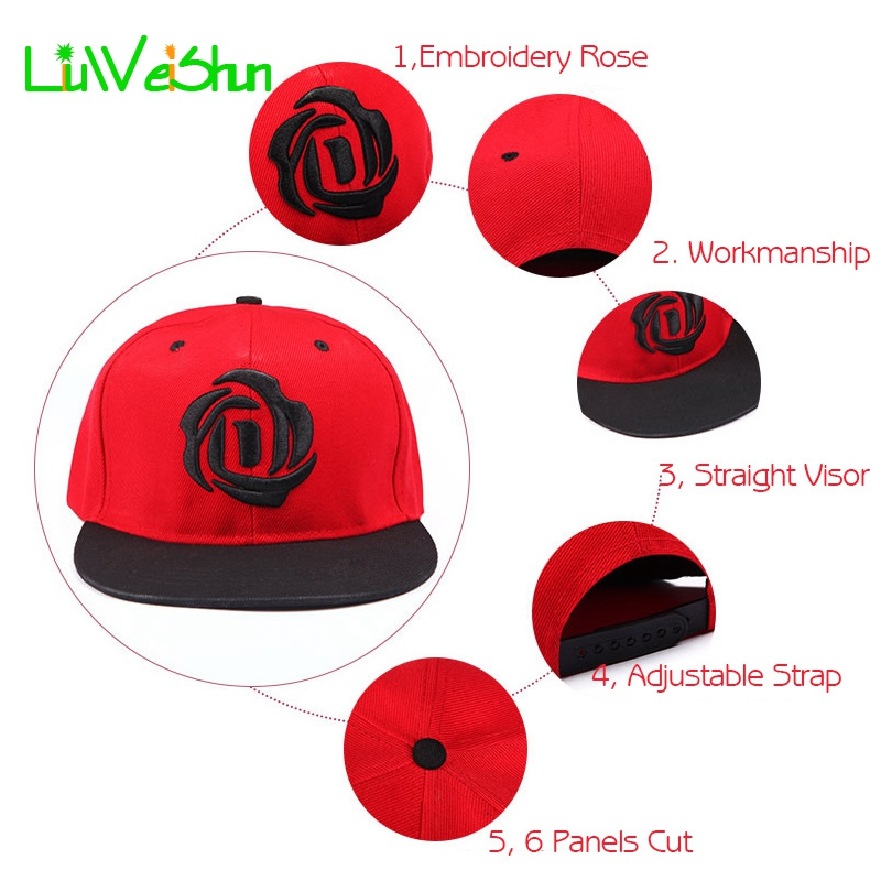 f721643d3d5  LWS  Women Baseball Cap With Straight Visor Snapback Hats Girl Hip hop  Adjustable Embroider Rose Floral Cap Hats Casquette Bone-in Baseball Caps  from ...