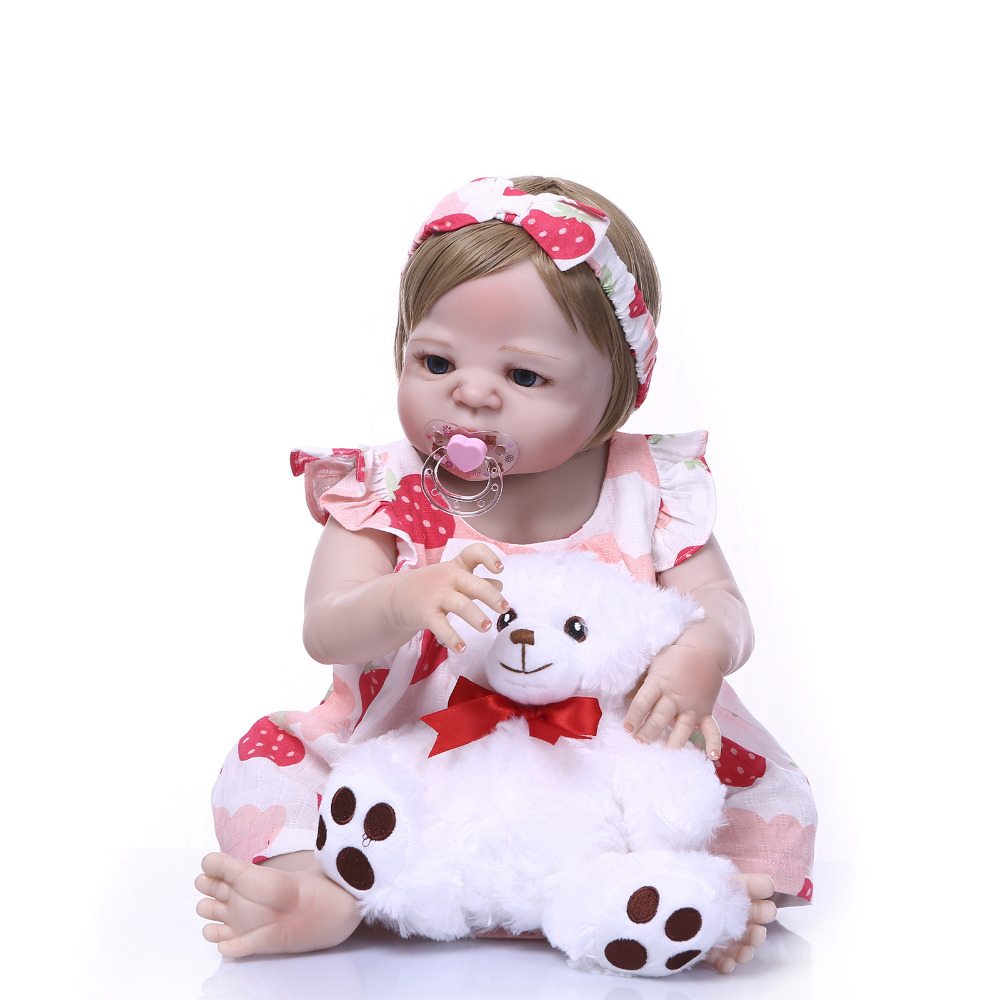 Nicery 22inch 55cm Bebe Reborn Doll Hard Silicone Boy Girl Toy Reborn Baby Doll Gift for Children White Dress White Bear Doll nicery 22inch 55cm bebe reborn doll hard silicone boy girl toy reborn baby doll gift for children white hat red dress baby doll