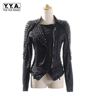 Casaco Feminino Leather Jacket Spikes Slim Fit Silver Rivet Metallic Jacket Top Quality Coats Women Motorcycle Jackets