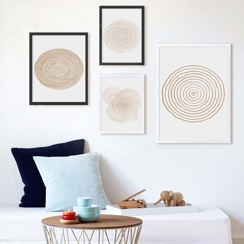 Bianche Wall Ring Abstract Circle Simple Decoration Canvas Painting Art Print Poster Paintings Home Bedroom Decor