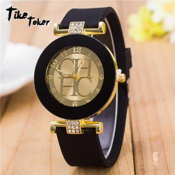 2020 Hot sale Fashion Black Geneva Casual CHHC Quartz Women watches Crystal Silicone Watches Relogio Feminino men's Wrist Watch 1
