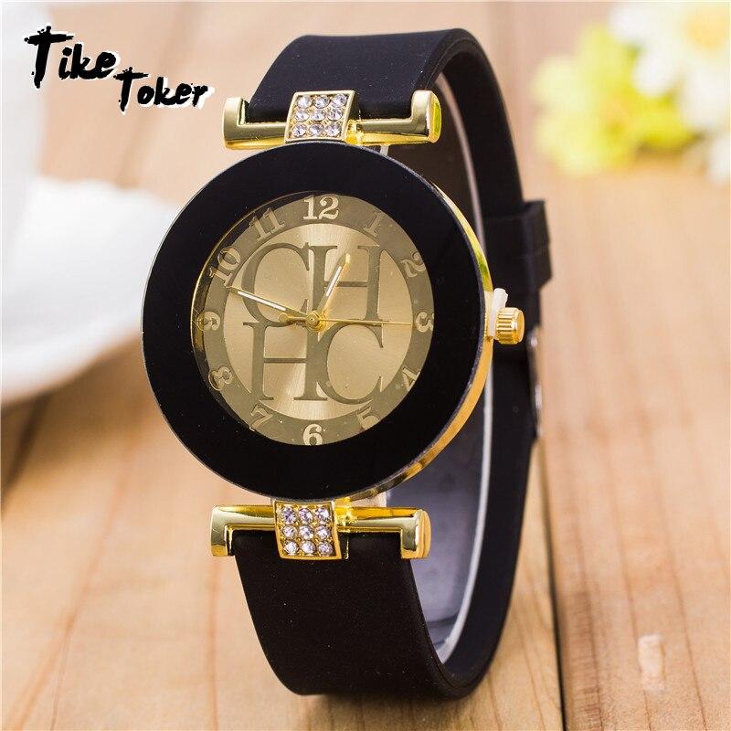 2018 Hot sale Fashion Black Geneva Casual CHHC Quartz Women watches Crystal Silicone Watches Relogio Feminino men's Wrist Watch