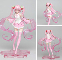 Japan Anime Hatsune Miku Model PVC Action Figure Collectible Brinquedos Kids Toys Commercial ver Pink Theme