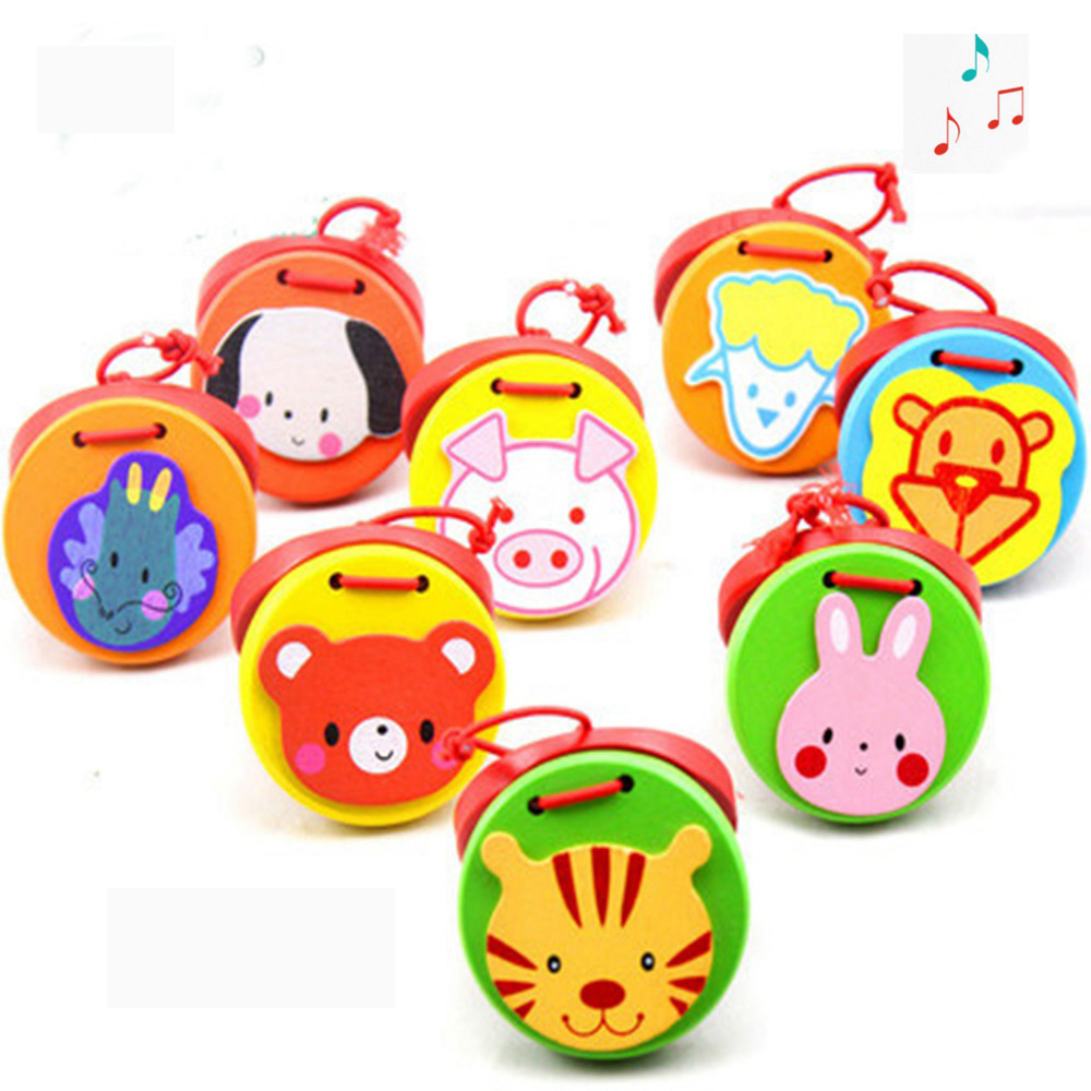 Cute Cartoon Castanets Lovely Kids Child Baby Wooden Castanet Clapper Handle Musical Instrument Toy Preschool Early Educational