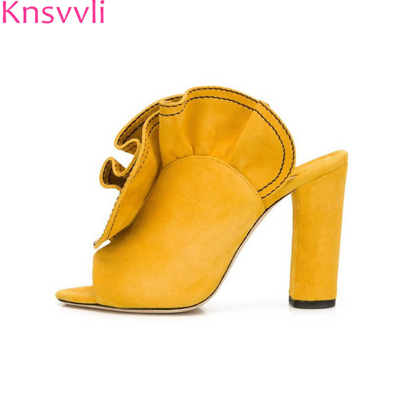 Knsvvli New Yellow Ruffles Chunky High Heels Slippers For Women Open Toe Suede Pleated Sexy Runway Banquet Shoes Woman Summer