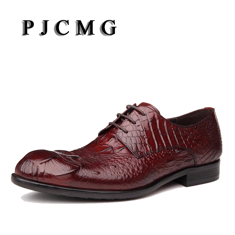 PJCMG High Quality Black/Brown Genuine Leather Lace-up Pointed Toe Flats Oxfords Crocodile Casual Dress Party Wedding Shoes uexia leather casual shoes men fashion wedding retro oxfords breathable black high top lace up high quality flats male moccasins
