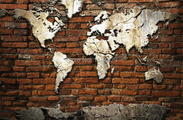 3d nostalgic retro brick wall world map large mural wallpaper tv 3d nostalgic retro brick wall world map large mural wallpaper tv sofa background photo wallpapers used gumiabroncs Gallery