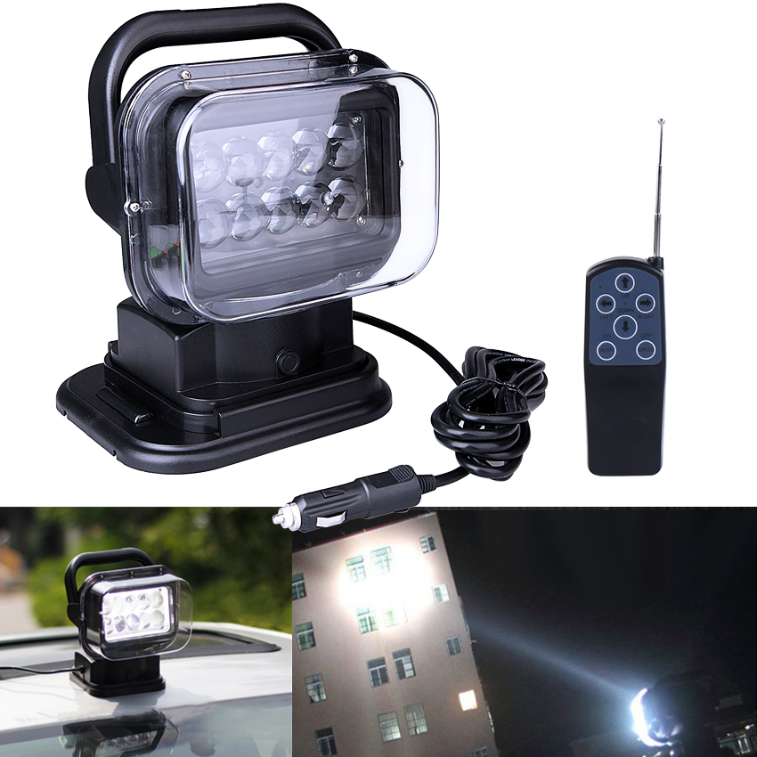 Wireless Remote Control Searchlight 50W 12 24V 7 inch Up Down Left Right Rotating LED Light