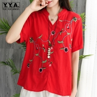Fashion Embroidery Flower V Neck Cotton Linen Shirt Women Summer Short Sleeve Breathable Blouse 2019 Female Clothes High Quality