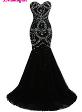 KapokBanyan Real Photo Black Tulle Long Mermaid Prom Dresses 2017 New Sweetheart Beads Party Evening Gown Luxury Robe de soiree