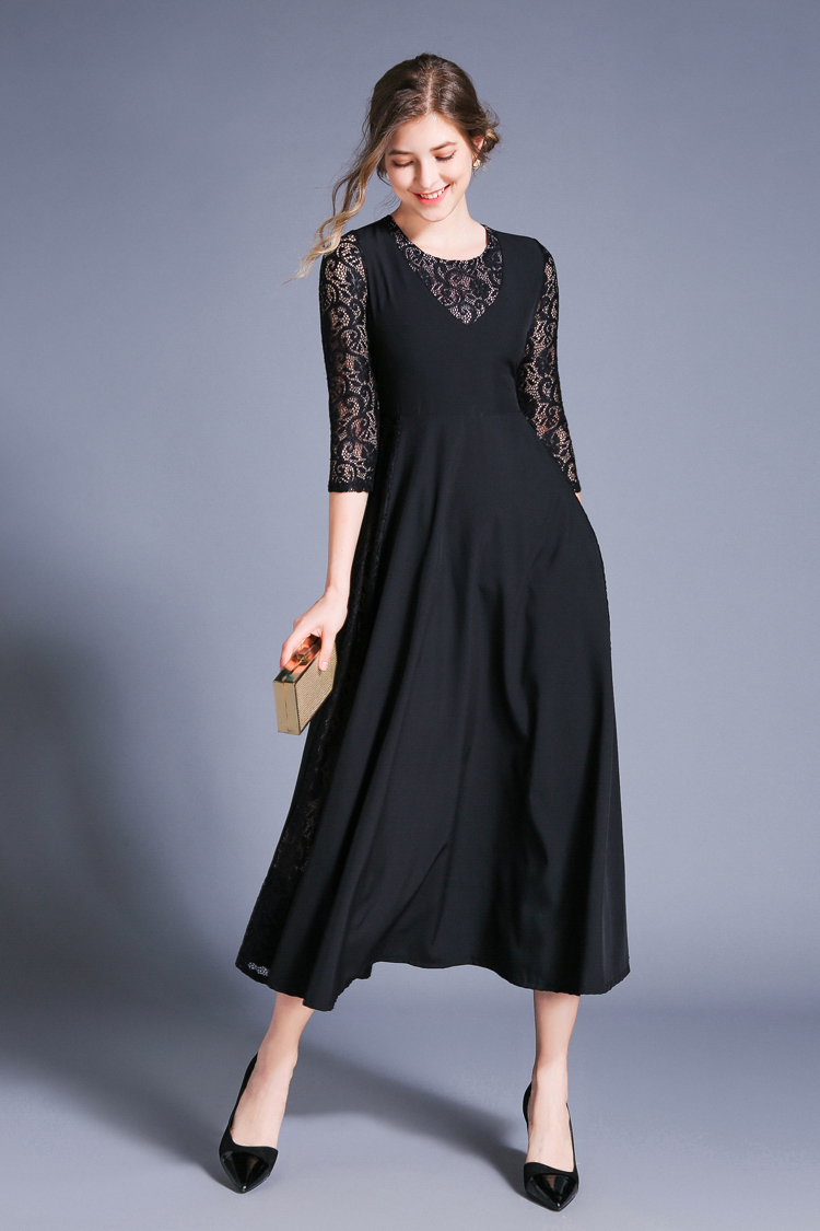 Retro Swing Hollow Out Lace A-Line Black Dress 2