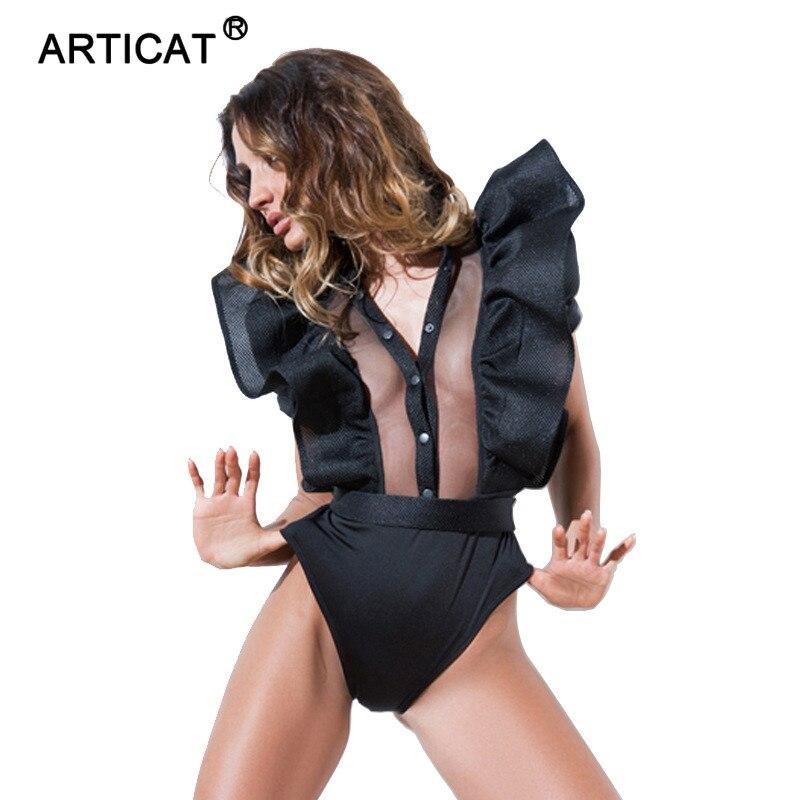 Articat Ruffers Sexy Bodysuit Women 2020 Summer Mesh Patchwork Hollow Out Rompers Women Jumpsuit Beach Bodycon Playsuit Overalls