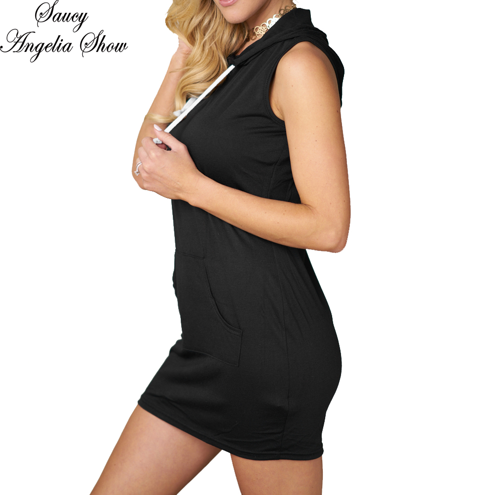 SAUCY ANGELIA Women Summer Dress Sexy Black Cotton Tank Mini Hooded Vestidos Femme Casual Stretchy Bodycon Bandage Party Dresses