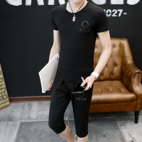 Clothes Erkek Giyim Abrigo Ropa Hombre Men Summer Spring Skinny Korean Pullover Cotton Short Sleeve Mini Corto Sweater