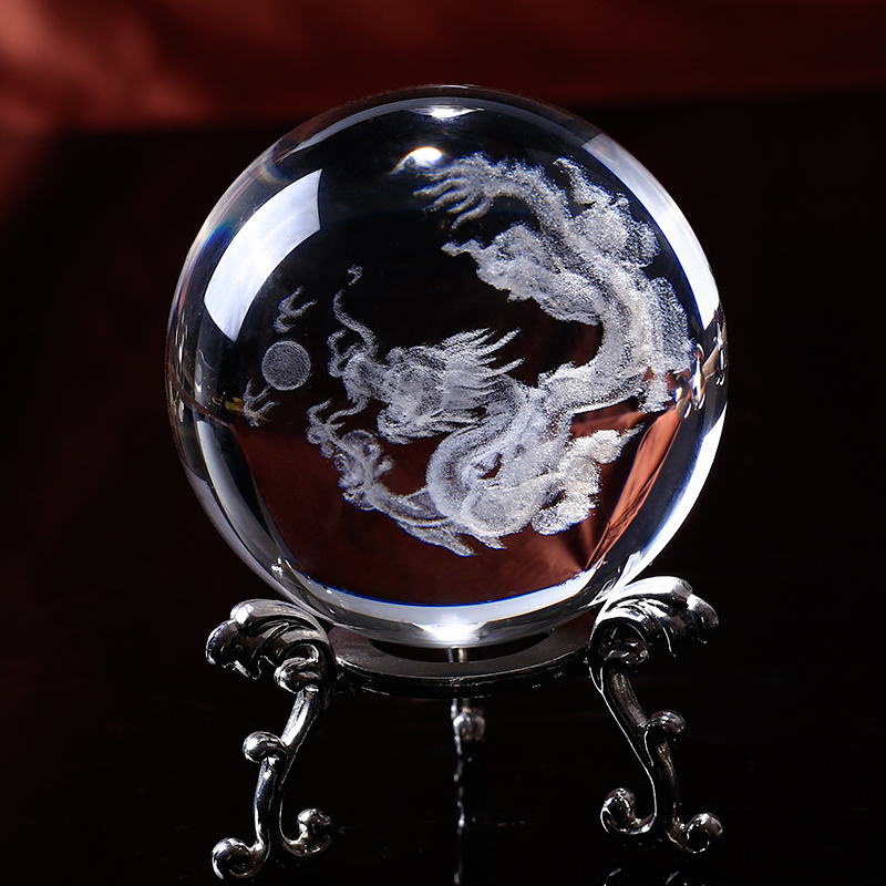 Sfera di vetro 3D Laser Inciso Dragon Crystal Ball Feng Shui Globe Home Decoration Accessori Regali in miniatura