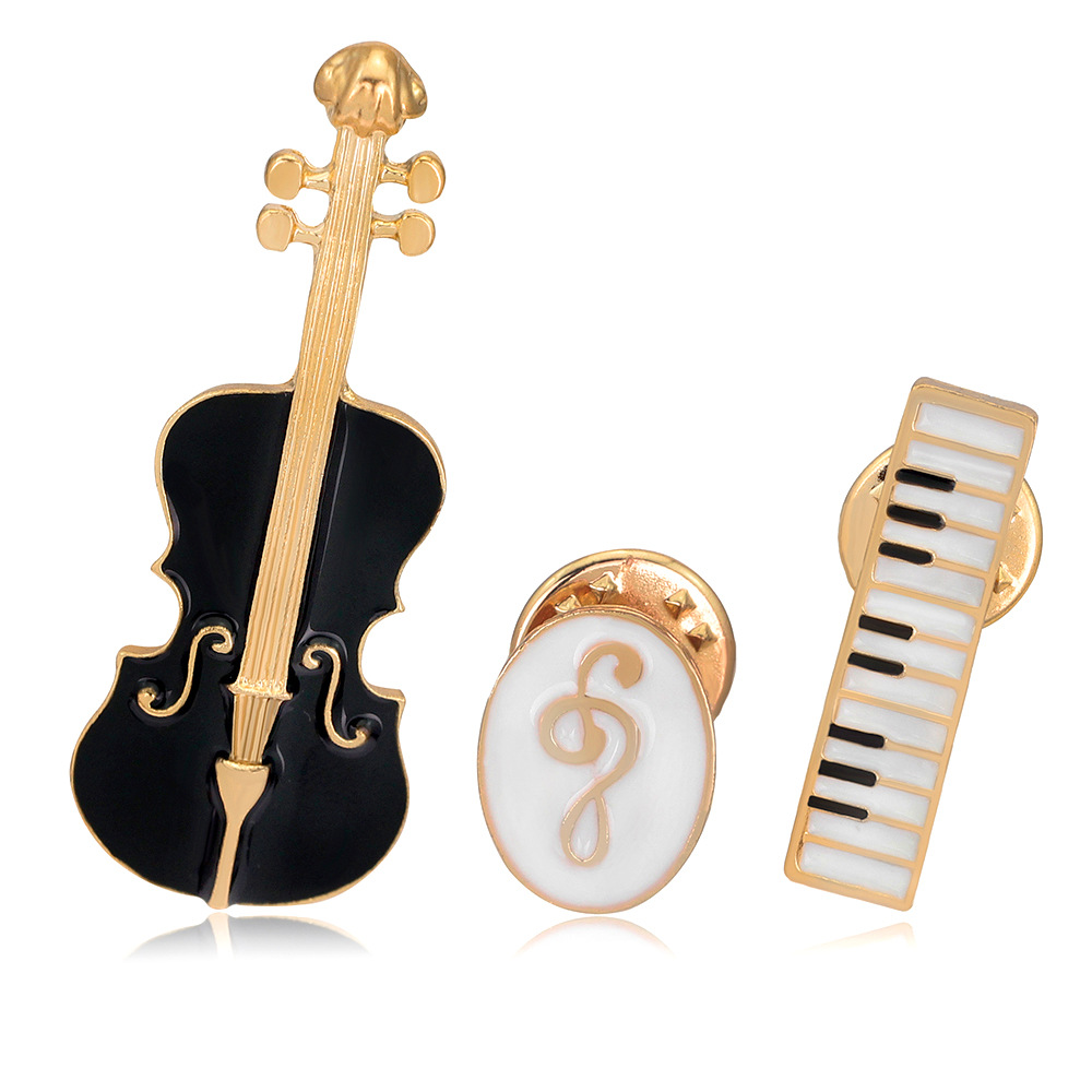 CINDY XIANG 3pcs/set Unisex Musical Instruments Violin Brooches for Women Enamel Pins Fashion Coat Accessories Collar Brooch