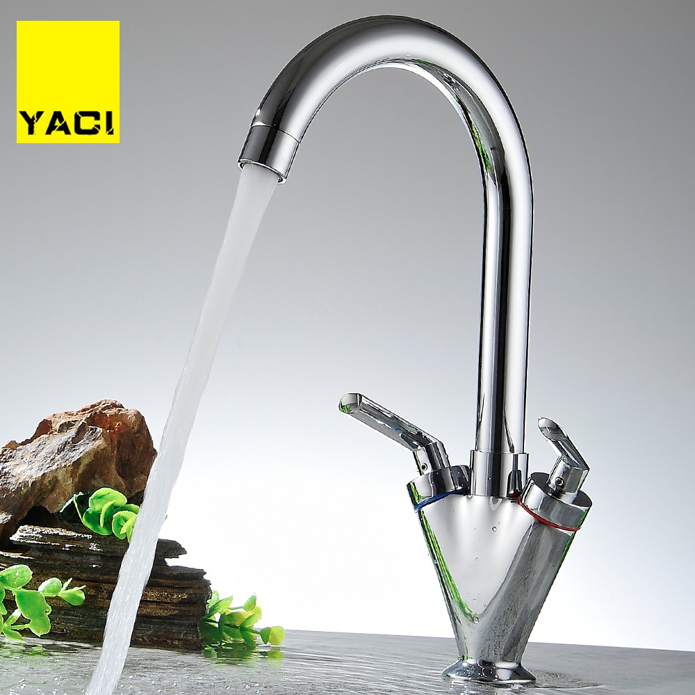 YACI 2018 New Product Double Lever Faucet Roasts 360 Degrees Rotating Spray Nozzle Paint Tank Faucet