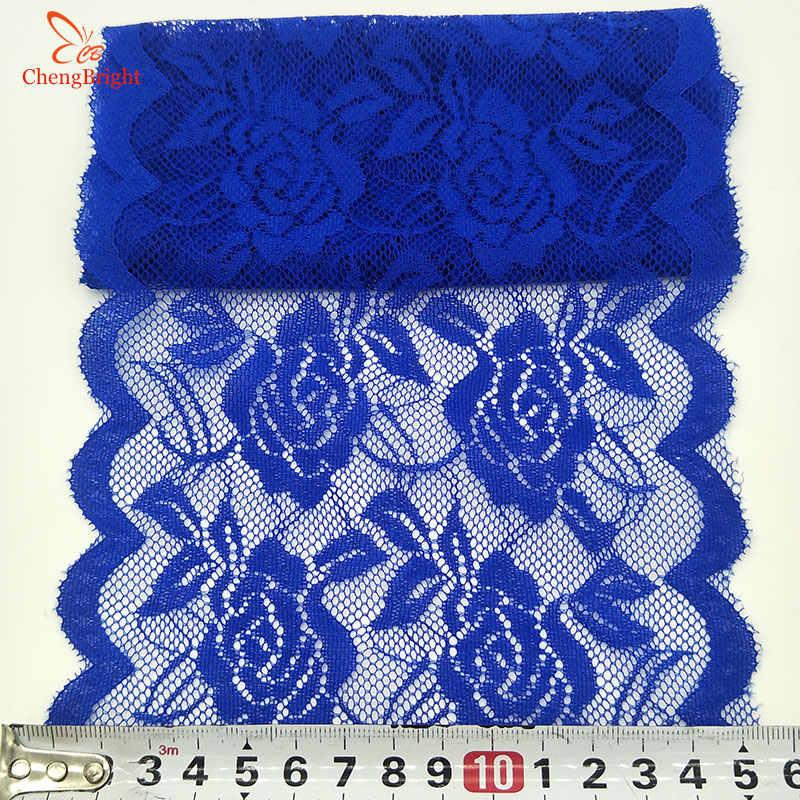 Chengbright 2 yard 레이스 리본 고품질 레이스 원단 아프리카 레이스 원단 장미 꽃 패턴 레이스 리본 15 cm 너비 diy